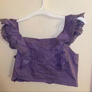 Purple ruffles crop top blouse
